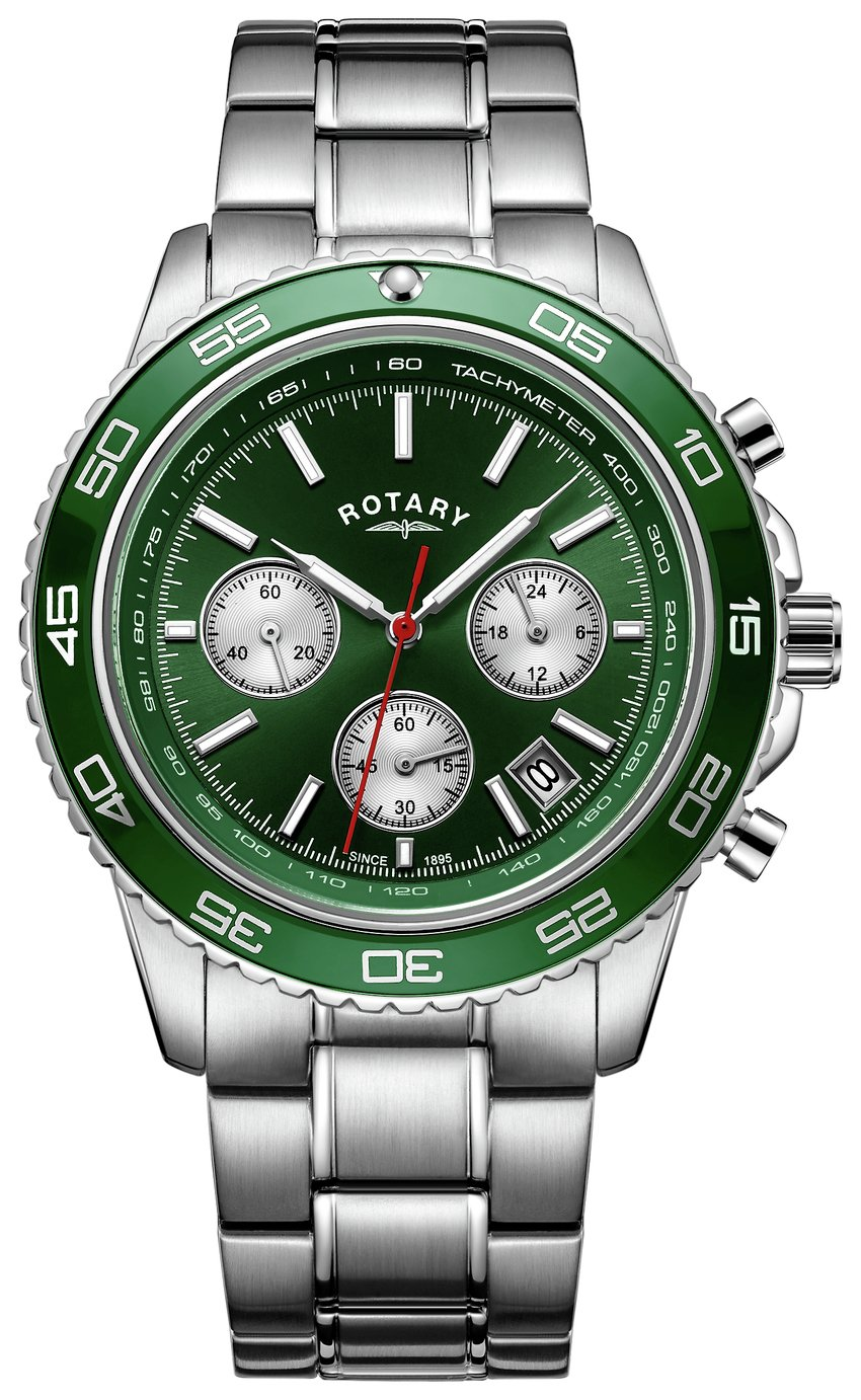 Rotary Men's Chronograph Green Dial Bracelet Watch from Rotary