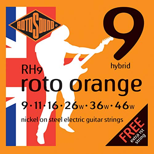 Rotosound Nickel Hybrid Gauge Electric Guitar Strings (9 11 16 26 36 46) from Rotosound
