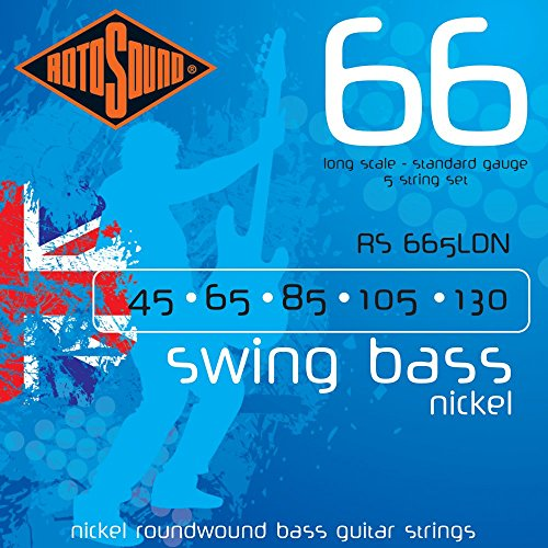 Rotosound Nickel Standard Gauge Roundwound Bass Strings (45 65 80 105 130) from Rotosound