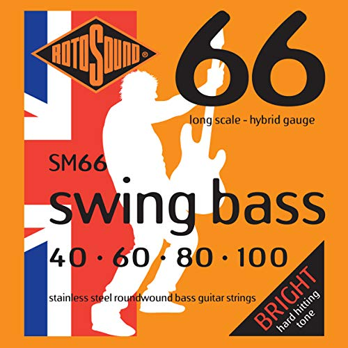 Rotosound Stainless Steel Hybrid Gauge Roundwound Bass Strings (40 60 80 100) from Rotosound
