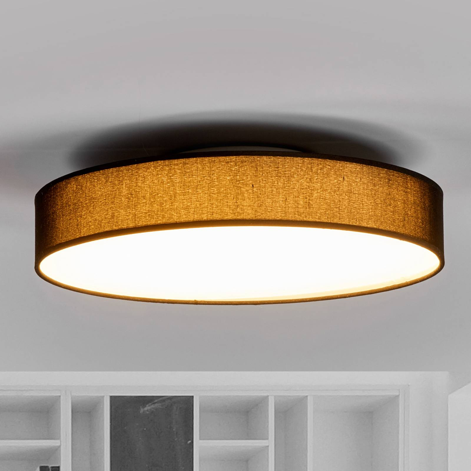 Fabric LED ceiling lamp Saira, 40 cm, black from Lindby