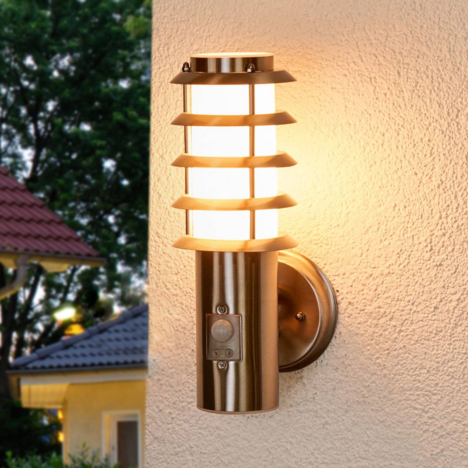 Selina - sensor outdoor wall light with a grid from Lampenwelt.com