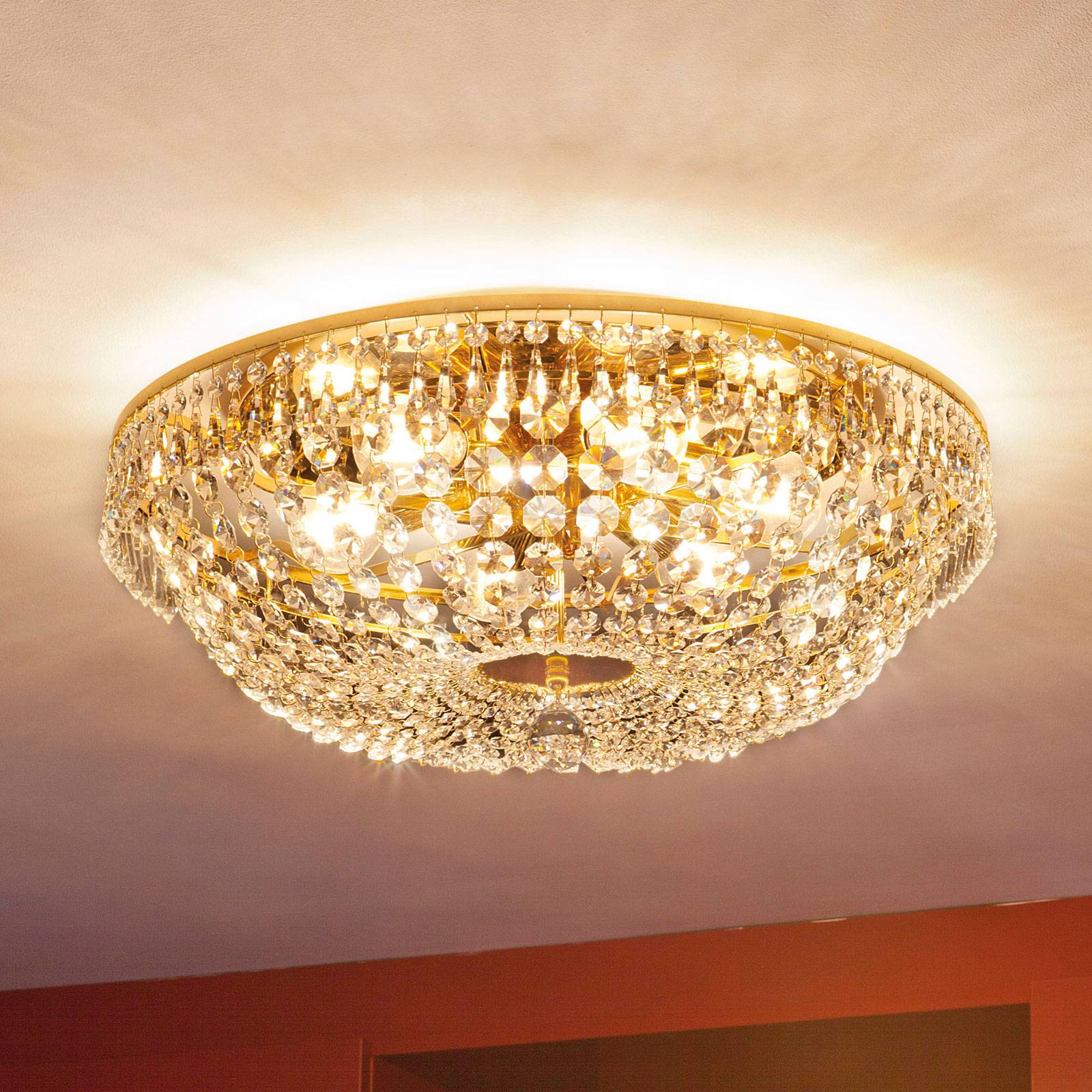 Sherata Crystal Ceiling Light Round Gold 55 cm from Orion