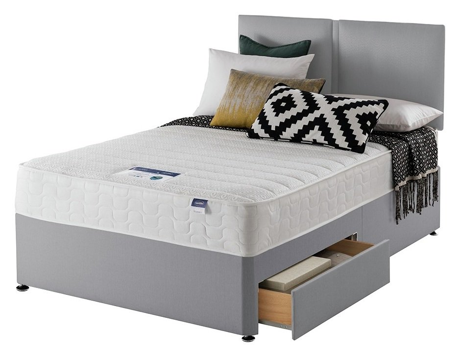 Silentnight Hatfield Memory 2 Drw Small Double Divan - Grey from Silentnight