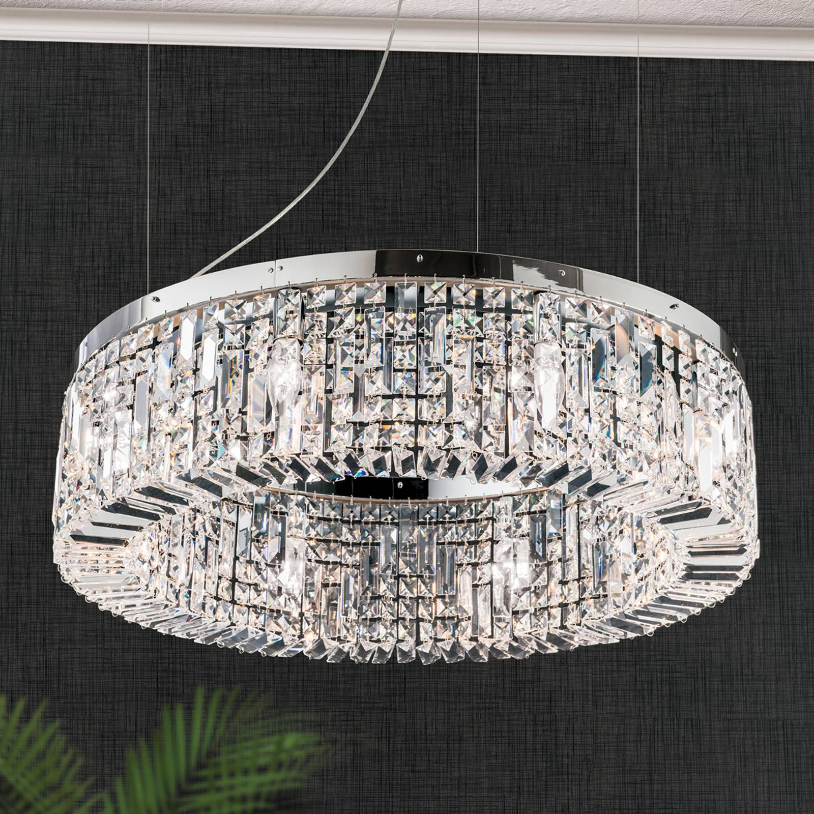 Sparkling crystalhanging lamp Ring 80 cm chrome from Orion