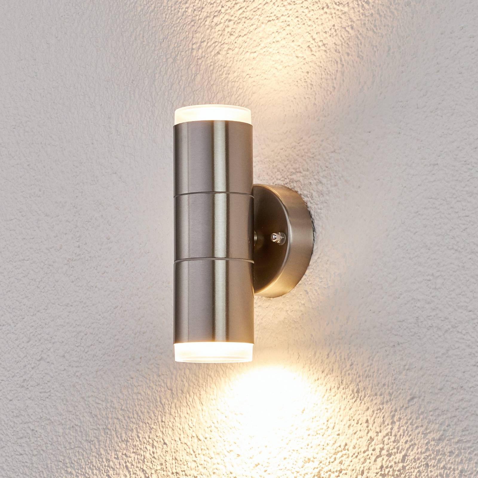 Stainless steel outdoor wall light Delina from Lindby