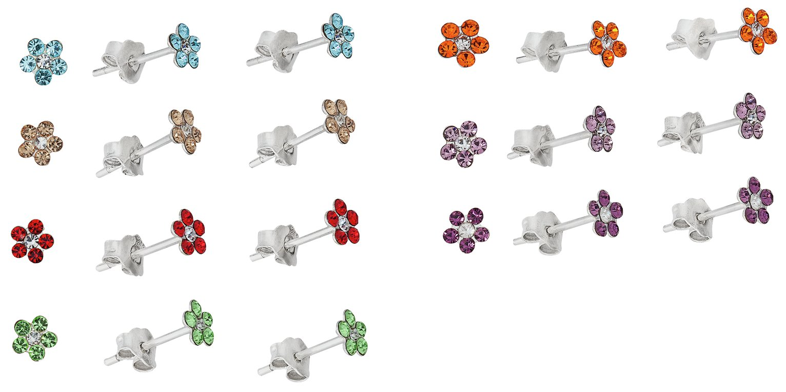a99998456 Sterling Silver - CZ Flower - Stud Earrings - Set of 7. from Revere