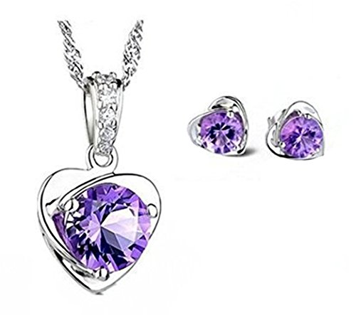 Sterling Silver Purple Austria Crystal Stud necklace and Earrings for Women Fashion Jewelry set from KOLOVEADA