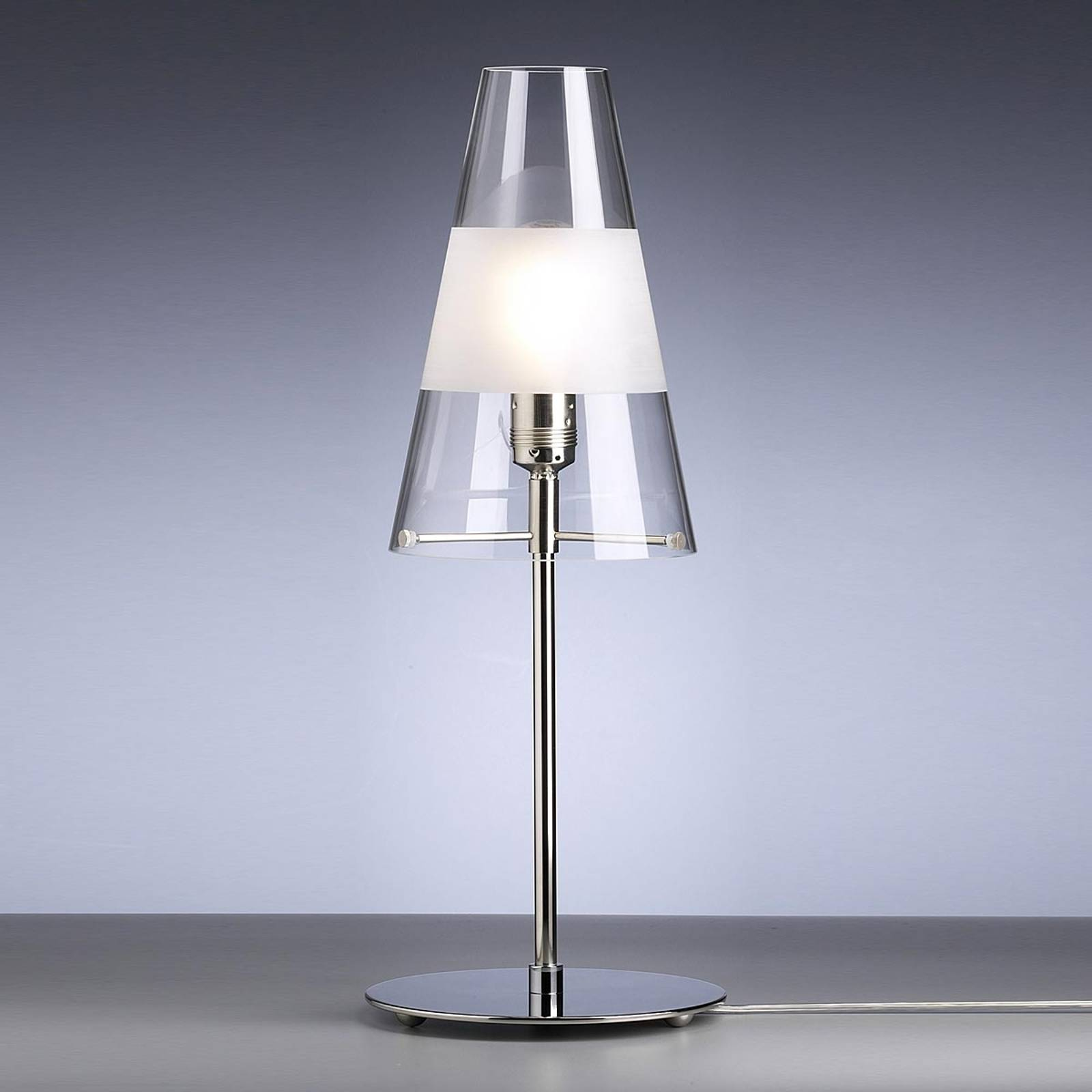 Table lamp by Walter Schnepel, clear, matt ring from Tecnolumen