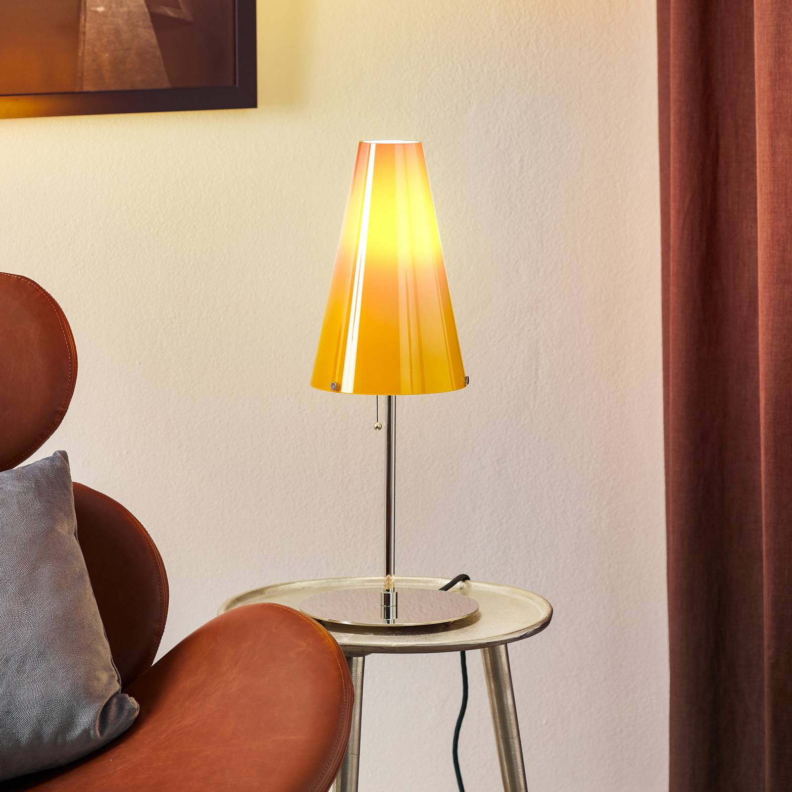 Table lamp by Walter Schnepel, melon-coloured from Tecnolumen