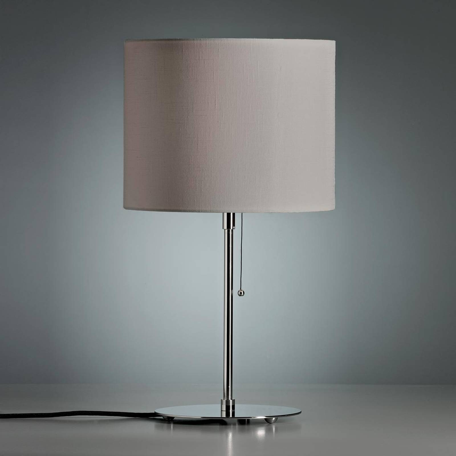 Table lamp with a coloured linen lampshade, grey from Tecnolumen