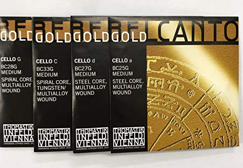 Thomastik Strings for Cello Belcanto Gold set 4/4 medium, nickel free, rope core from Thomastik