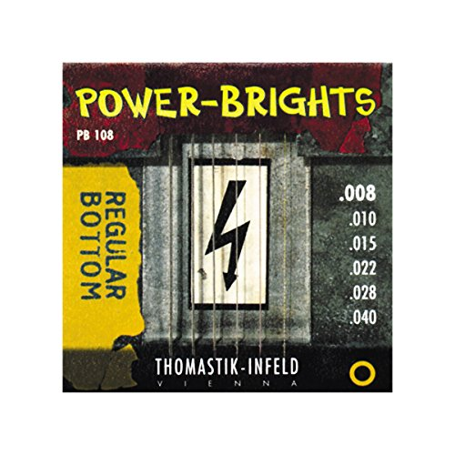 Thomastik Strings for Electric Guitar Power Brights Series Regular Bottom Set PB108 Extra Light .008-.040w from Thomastik