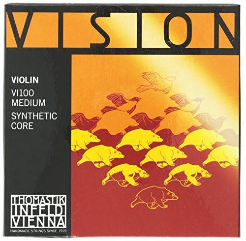 Thomastik Strings for Violin Vision synthetic core, set 4/4 medium, removable ball, focussed tone, pure and open from Thomastik