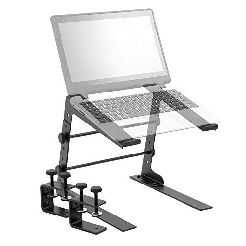Tiger Adjustable Table Top DJ Laptop Stand with Desk Clamps from Tiger Music