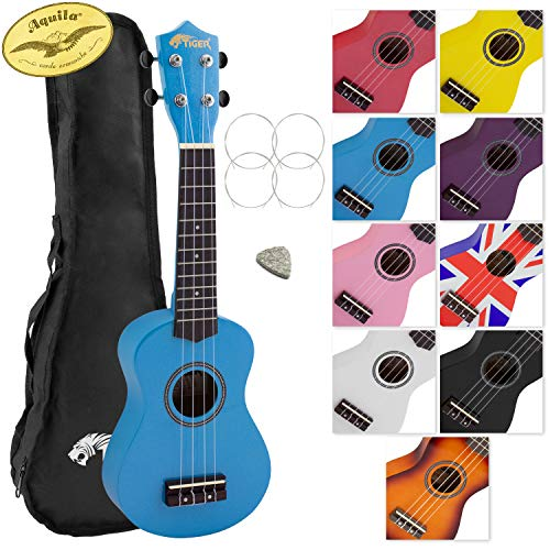 Tiger Music Beginner Soprano Ukulele with Bag - Blue from Tiger Music