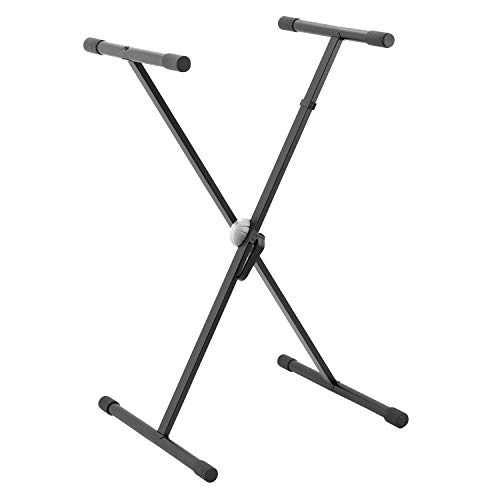 Tiger Keyboard Stand - Single Braced X Frame Keyboard Stand for 61 to 88 Key Keyboards and Digital Pianos - Black from Tiger Music