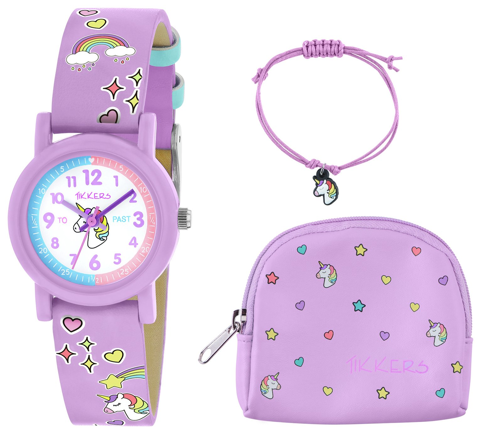 Tikkers Lilac Unicorn Watch, Necklace and Purse Set from Tikkers