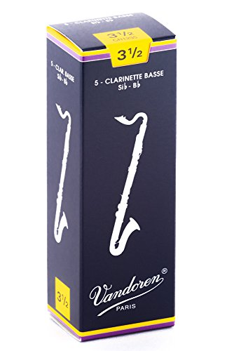 Vandoren CR1235 Traditional Bass Clarinet Reeds (Strength 3.5) (Pack of 5) from VANDOREN