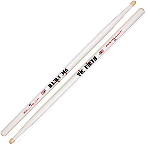 Vic Firth American Classic Series Drumsticks - 5AW - American Hickory - Wood Tip - White (Pack of 2) from Vic Firth