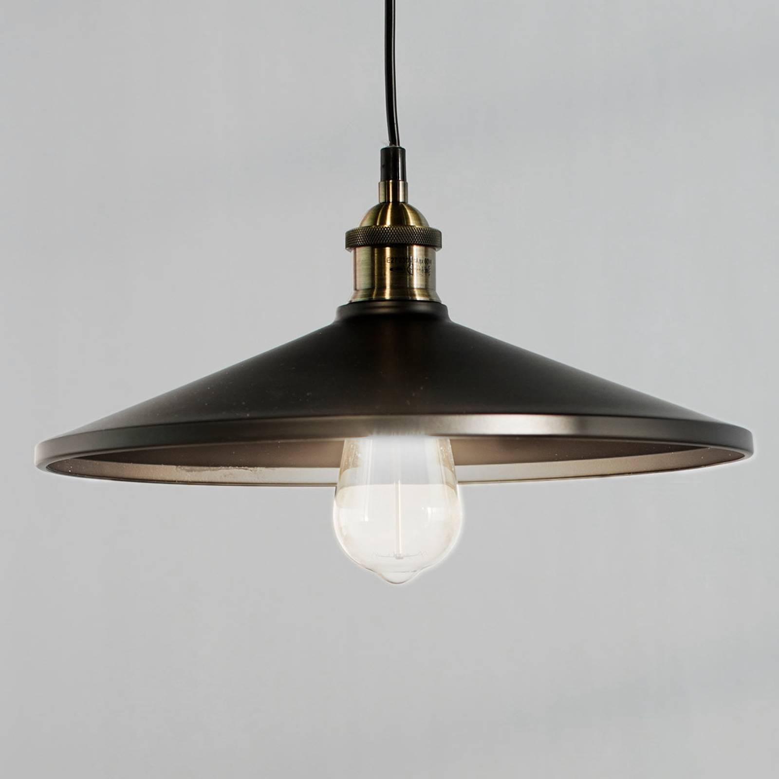 Viktor Pendant Lamp in Aluminium, Black from Globo