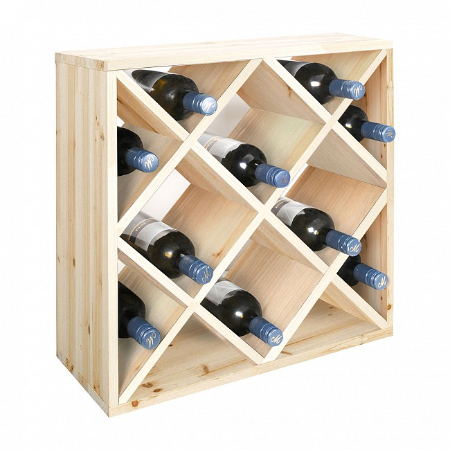 Wine rack 50 cm, module diamond shaped inserts, nat.
