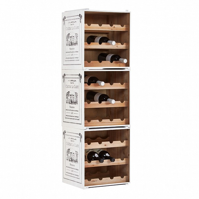 Wine rack CAISSON, white, 3 piece set