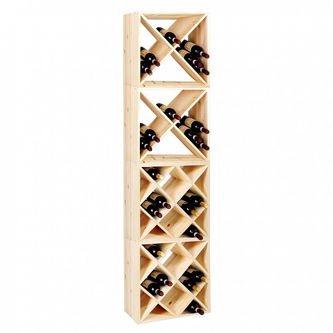 Wine rack CUBE 52, 2 `X` + 2 `diamond`, 4 piece set
