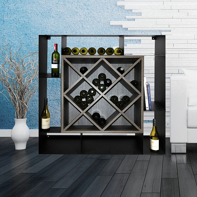 Wine rack NERO, wenge & steel, 12 diamonds