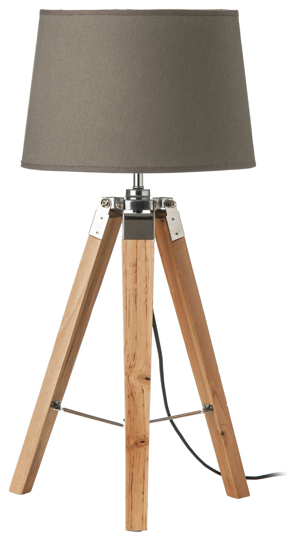 Wood Base Tripod - Table Lamp - Grey from Premier housewares