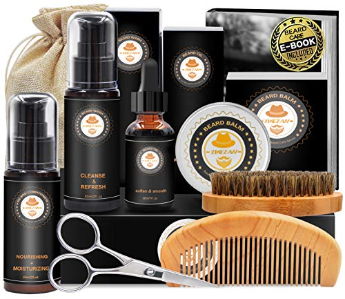 Upgraded Beard Grooming Kit w/Beard Baubles,Beard Shaper,Beard Growth Oil,Beard Balm,Beard Shampoo/Wash,Beard Brush,Beard Comb,Beard Scissors,Storage Bag,E-Book,Beard Care Grooming Daddy Gifts for Men from XIKEZAN