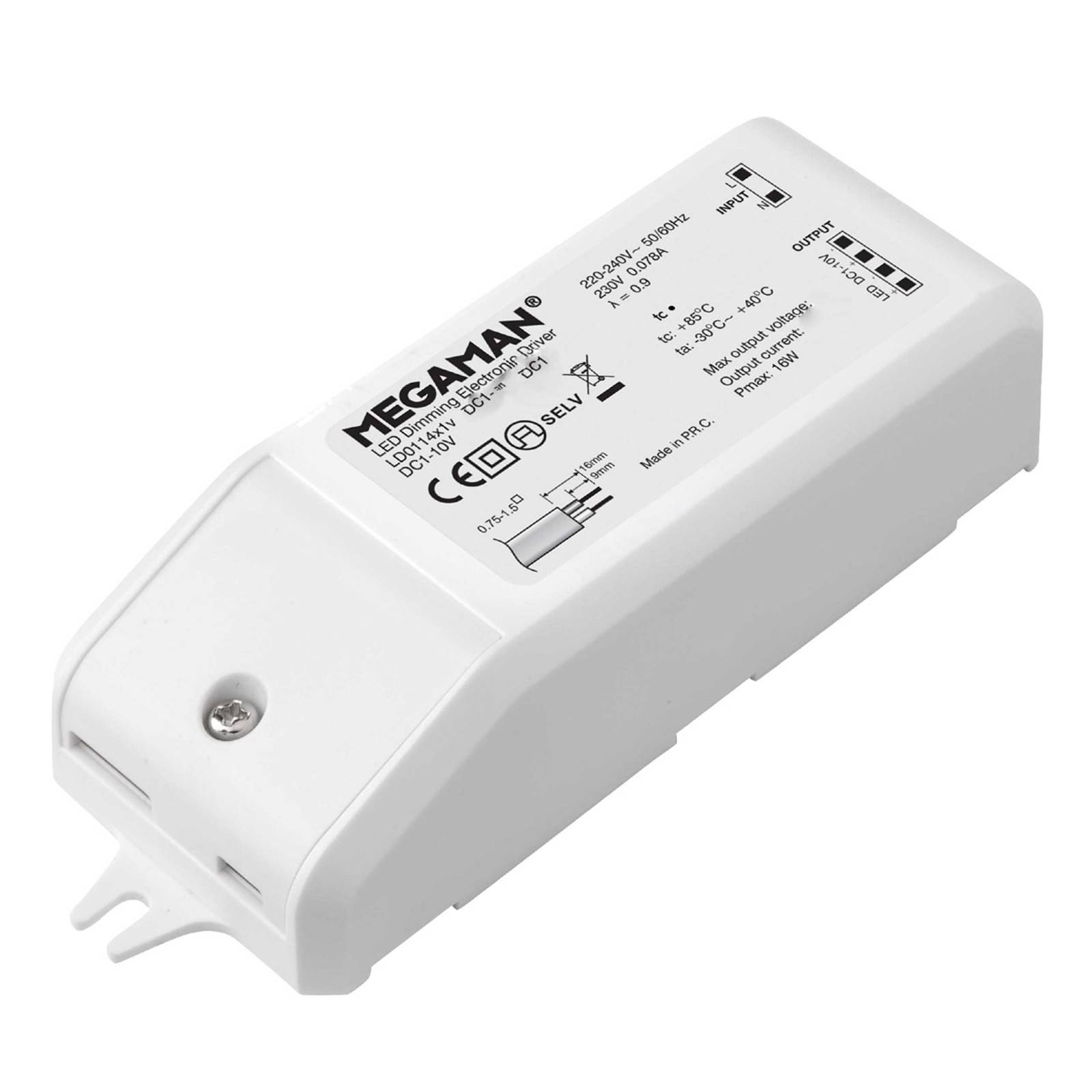 electronic driver DC 1-10 V 10 W, dimmable from Megaman