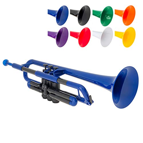 pTrumpet Plastic Trumpet with 3C and 5C Mouthpiece and Carry Bag - Bb Student - Blue from pTrumpet
