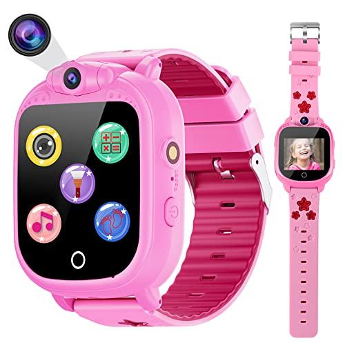 Prograce Kids Smart Watch Digital Camera Watch with Games, Music Player, Pedometer Step Count, FM Radios, Flashlights and 1.5 inch Touch LCD for Boys Girls Birthday Pink from PROGRACE