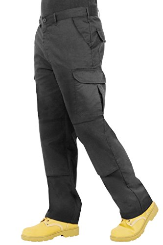 Endurance Mens Cargo Combat Work Trouser with Knee Pad Pockets and Reinforced Seams (30R, Black) from Proluxe