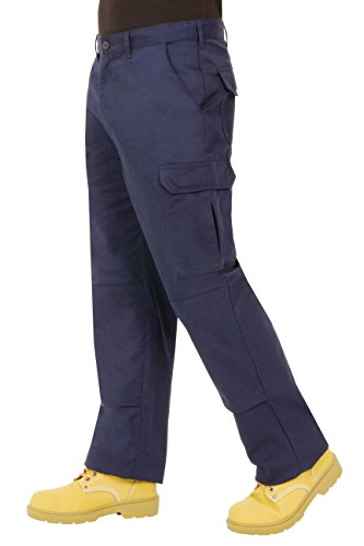 Endurance Mens Cargo Combat Work Trouser with Knee Pad Pockets and Reinforced Seams (30R, Navy) from Proluxe