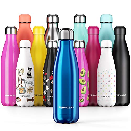 Proworks Performance Stainless Steel Sports Water Bottle | Double Insulated Vacuum Flask for 12 Hours Hot & 24 Hours Cold Drinks - Great for Home, Work, Gym & Travel - 1 Litre - BPA Free – Blue from Proworks