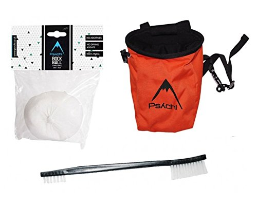 Psychi Bouldering Climbing Starter Pack with Chalk Bag Chalk and Brush (Orange) from Psychi