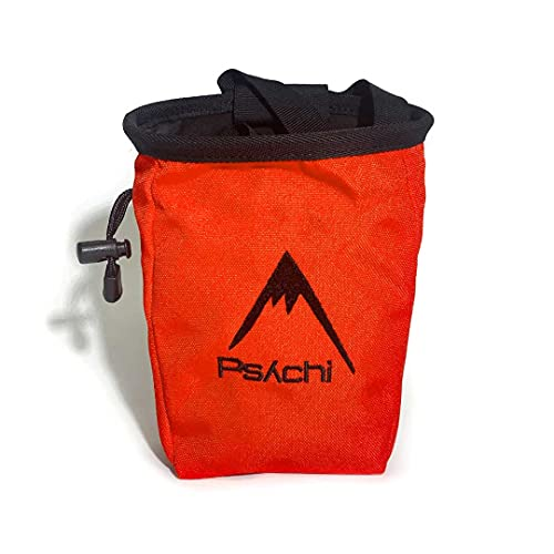 Psychi Chalk Bag for Rock Climbing Bouldering with Rear Zip and Waist Belt (Orange) from Psychi