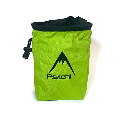 Psychi Chalk Bag for Rock Climbing with Rear Zip and Waist Belt (Green) from Psychi
