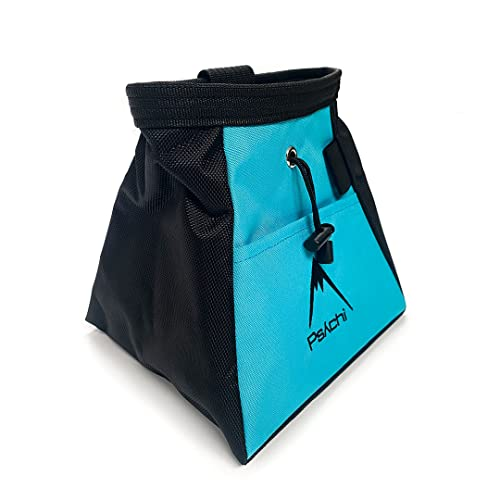 Psychi Chalk Bouldering Bucket Stand Bag for Rock Climbing with Front and Rear Zip Storage (Blue) from Psychi