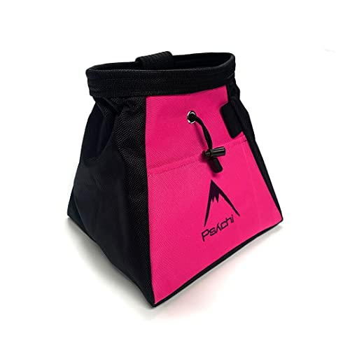 Psychi Chalk Bouldering Bucket Stand Bag for Rock Climbing with Front and Rear Zip Storage (Pink) from Psychi