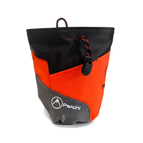 Psychi Premium Chalk Bag for Bouldering Rock Climbing with Rear Zip Pocket and Waist Belt (Orange) from Psychi