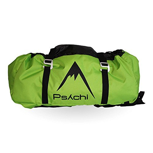 Psychi Rock Climbing Rope Bag with Ground Sheet Buckles and Carry Straps (Green) from Psychi