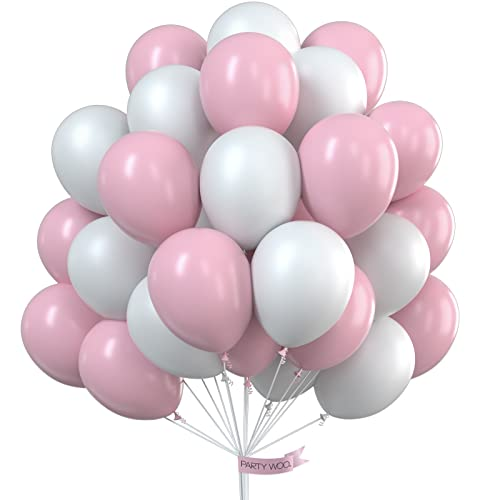 PartyWoo Pink and White Balloons 100 pcs 12 Inch Pale Pink Balloons White Balloons Christening Decorations for Girls, Baby Shower Decorations Girls for Girls Baby Shower, Disney Princess Party from PuTwo
