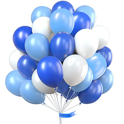 PartyWoo Blue and White Balloons 100 pcs 12 inch Royal Blue Balloons Pale Blue Balloons White Balloons Blue Latex Balloons Party Balloons for Boys Christening, Boys Baby Shower, Boys 1st Birthday from PuTwo