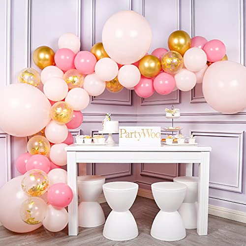 PartyWoo Gold and Pink Balloons, 44 pcs Light Pink Balloons, Gold Metallic Balloons, Fushia Balloons and Gold Confetti Balloons for Pink and Gold Baby Shower, 4 pcs 18 In Jumbo Pink Balloons Included from PartyWoo