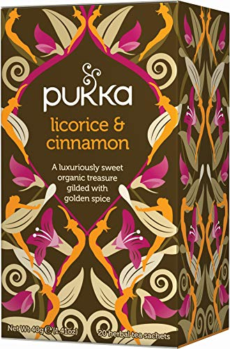 Pukka Organic Licorice and Cinnamon 20 Teabags (Pack of 4, Total 80 Teabags) from Pukka