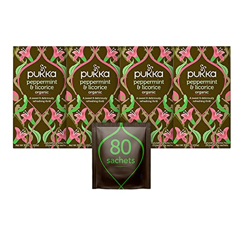Pukka Organic Peppermint and Licorice 20 Sachets (Pack of 4, Total 80 Sachets) from Pukka