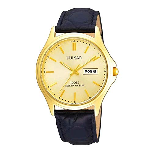 Pulsar Mens Analogue Classic Quartz Watch with Leather Strap PXF296X1 from Pulsar